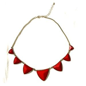 Red Triangle Pyramid Necklace
